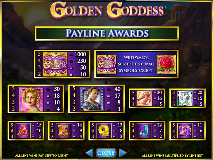 Golden Goddess slot machine pay lines